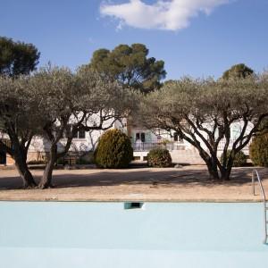 La villa principale construite en 1970 vue depuis la piscine carrelée à travers les oliviers.